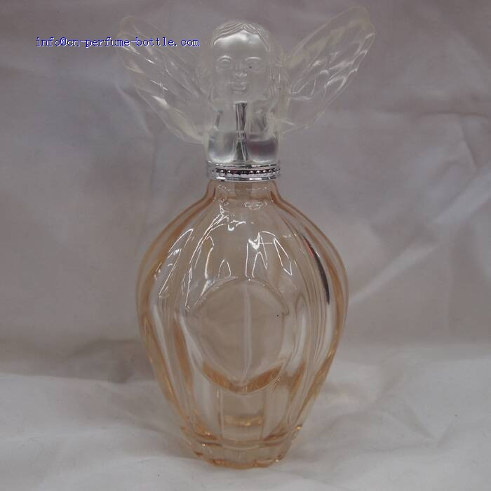 round shape perfume bottle with angel cap design