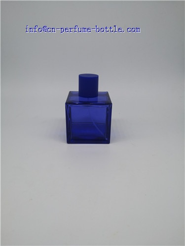 deep blue square glass perfume bottle for man
