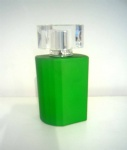 painting green color perfume bottle with clear cap special design perfume bottle