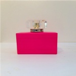 pink glass perfume bottle with surly cap